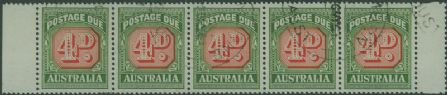 Postage Due SG D135a 4d Carmine and deep Green die II strip of 5 s (AD1/15)